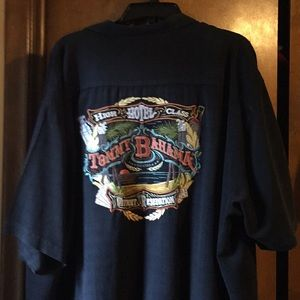 Tommy Bahama Men shirt Black embroidered on back